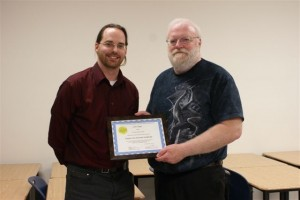 Justin Jagger receives his Explore the Universe Certificate from Observing Chair Ed Essex