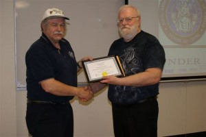 Ted Bronson receives his Isabella Williamson Lunar Observing Certificate from Observing Chair Ed Essex - May 2011