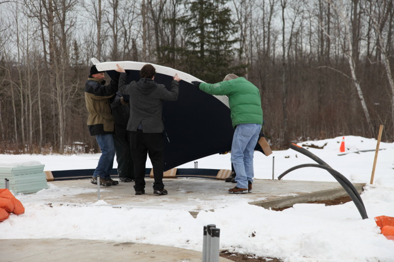 Dome Panel Being Unloaded