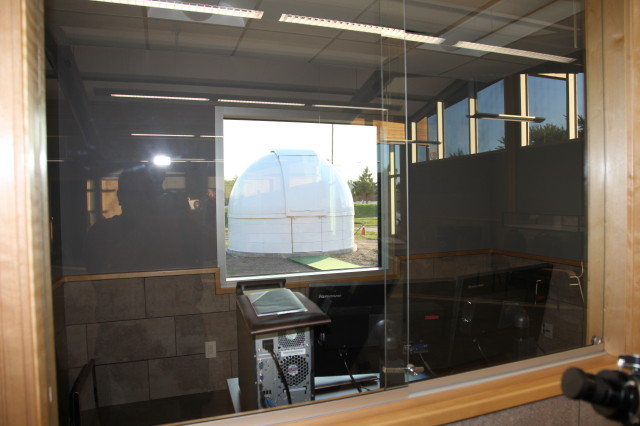LOOKING THROUGH CONTROL ROOM TO DOME